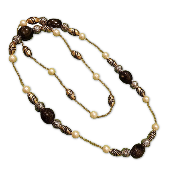 Beaded Long Bohême Necklace - Black