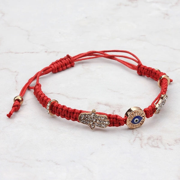 Nirvana Thread Hamsa Evil Eye Adjustable Bracelet Red