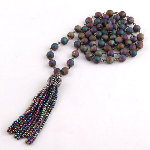 Natural Stone & Beaded Tassel Necklace - Multicolour