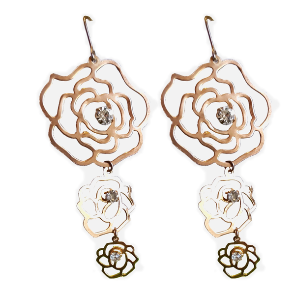 Cut Work Rosette Hook Dangler Earrings