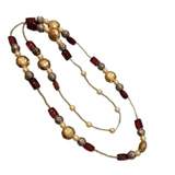 Beaded Long Bohême Necklace - Red