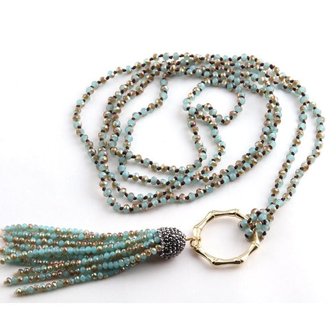Bamboo Circle Crystal Tassel Necklace - Blue
