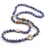 Natural Druzy Stone & Pearl Necklace - Shaded Blue