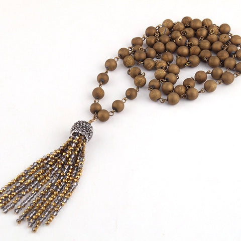 Natural Stone & Beaded Tassel Necklace - Antique Gold