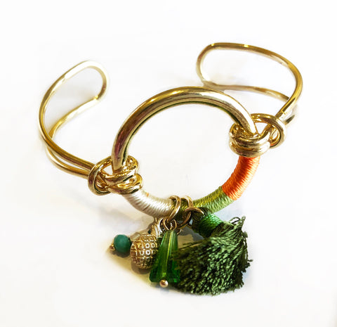 Anchor Me Tassel Bracelet Cuff Orange Green White