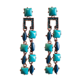 Bohême Blue Stud Dangler Earrings
