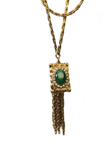 Jade Green & Gold Tassel Necklace