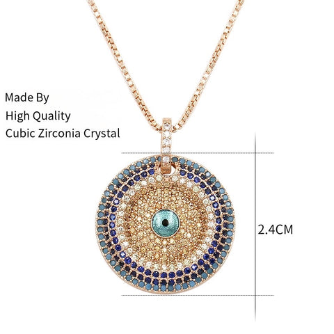 Paved Disc Evil Eye Pendant Chain