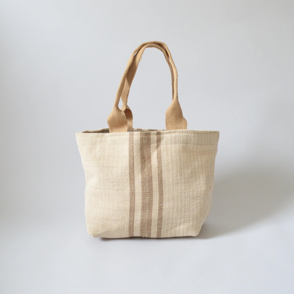 FOLKSGLOVE Natural Stripe Tote Bag - Front View