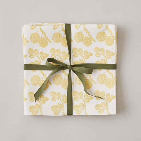 FOLKSGLOVE Gooseberry Napkin - Set of Four with Ribbon