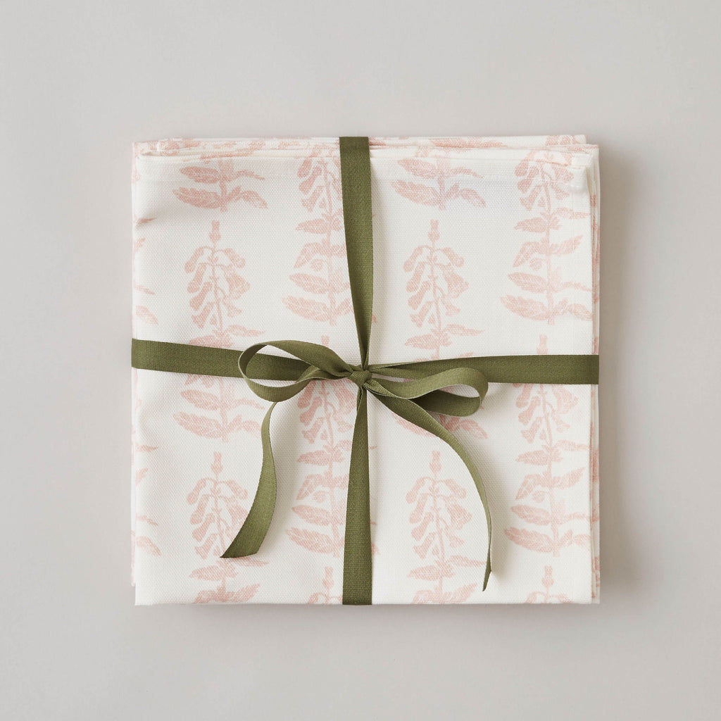 FOLKSGLOVE Foxglove Napkin - Set of Four with Ribbon