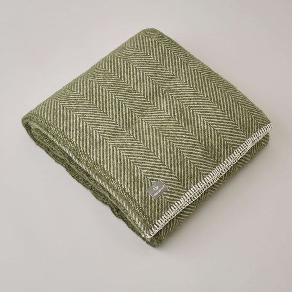 FOLKSGLOVE Olive Green Wool Blanket - Front View