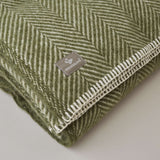 FOLKSGLOVE Olive Green Wool Blanket - Detail View