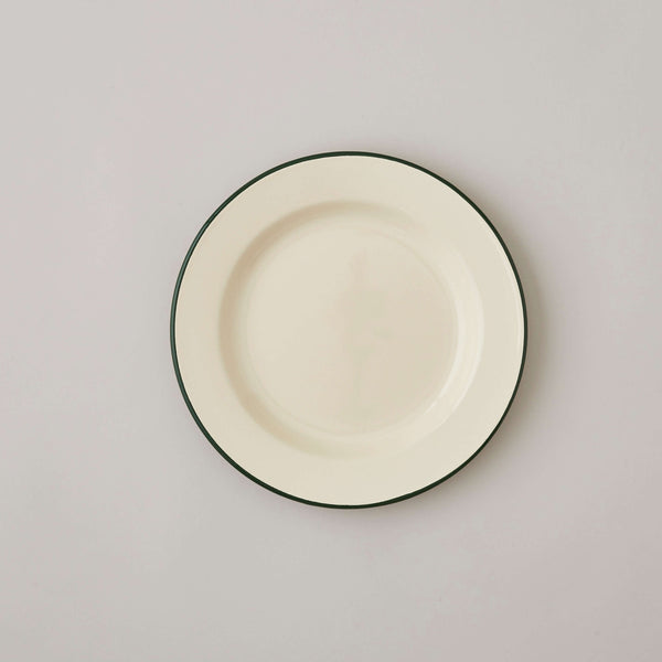 FOLKSGLOVE Cream and Green Enamel Plate 20cm - Front View