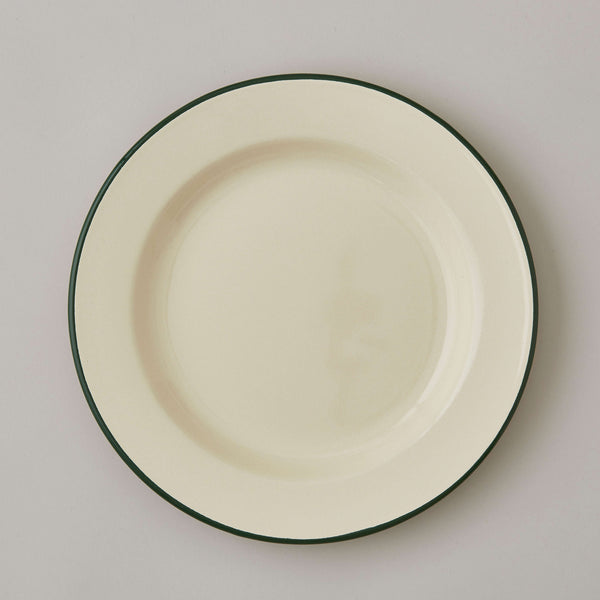 FOLKSGLOVE Cream and Green Enamel Plate 26cm - Front View