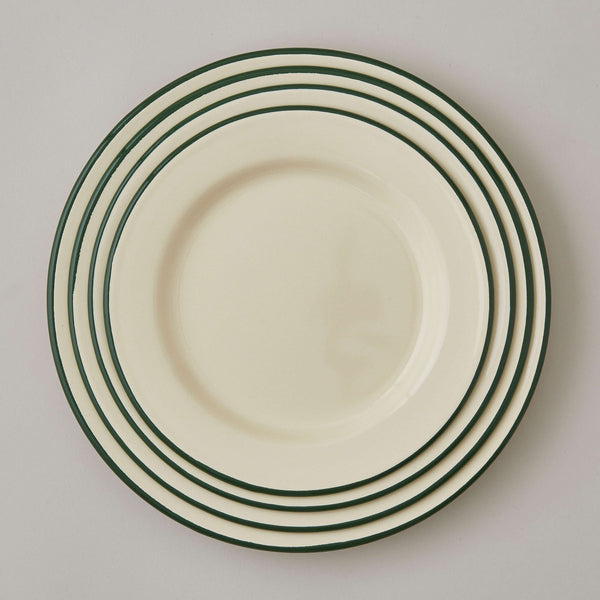 FOLKSGLOVE Cream and Green Enamel Plates - Set of Four