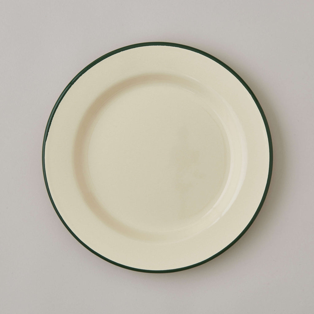 FOLKSGLOVE Cream and Green Enamel Plate 24cm - Front View