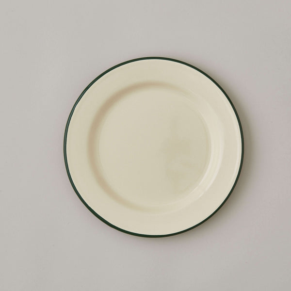 FOLKSGLOVE Cream and Green Enamel Plate 22cm - Front View