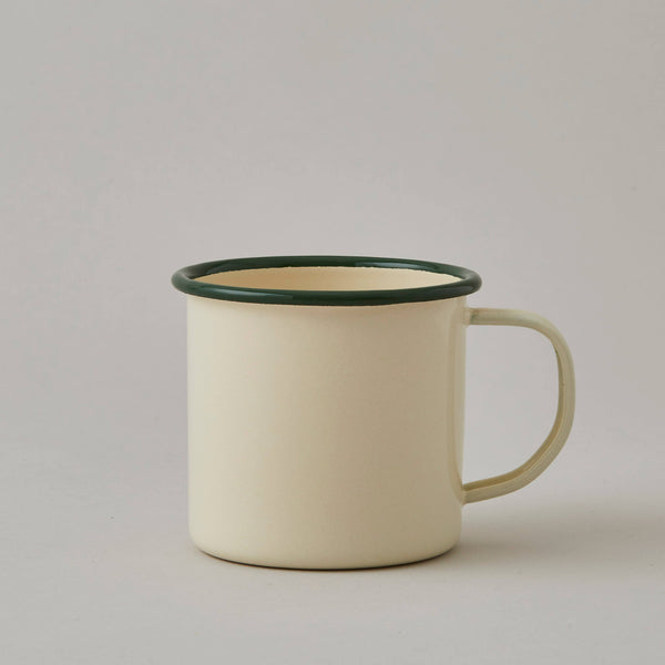 FOLKSGLOVE Cream and Green Enamel Mug - Front View
