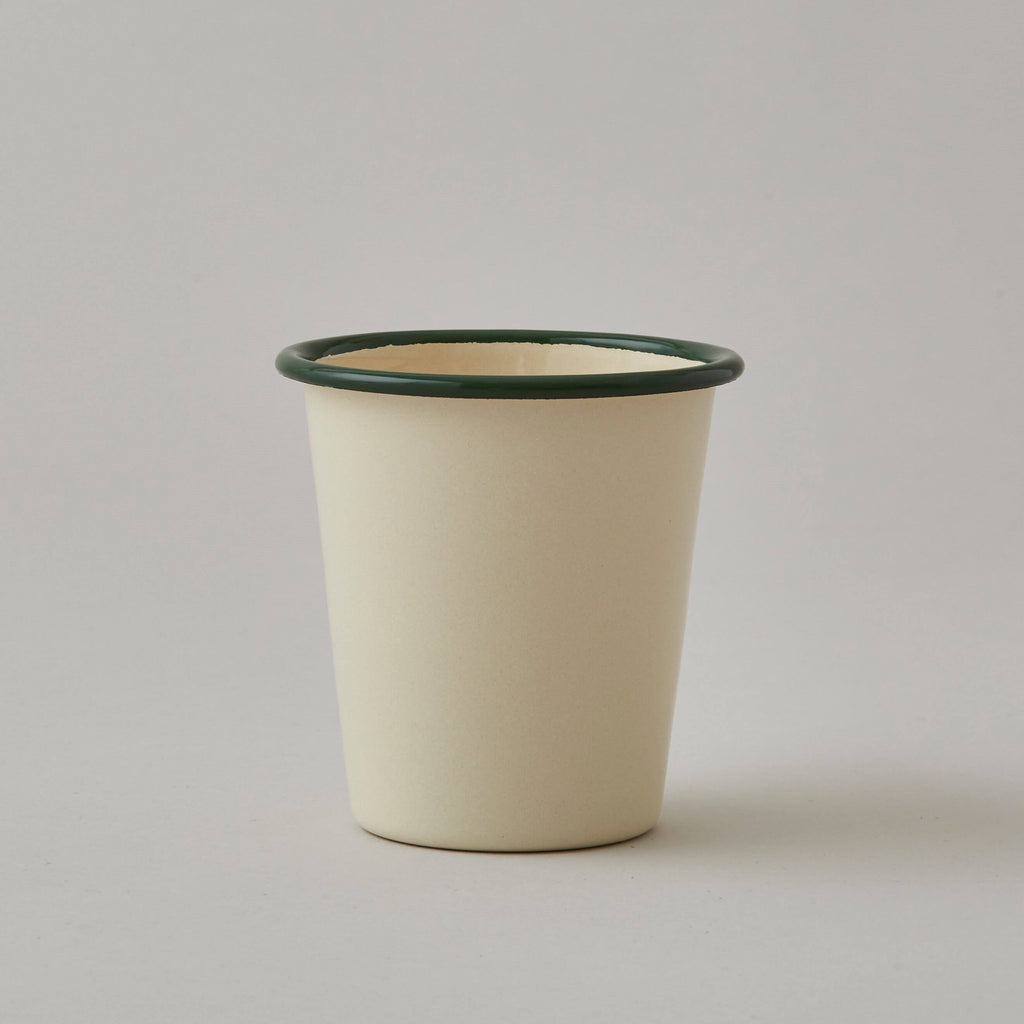 FOLKSGLOVE Cream and Green Enamel Tumbler - Front View