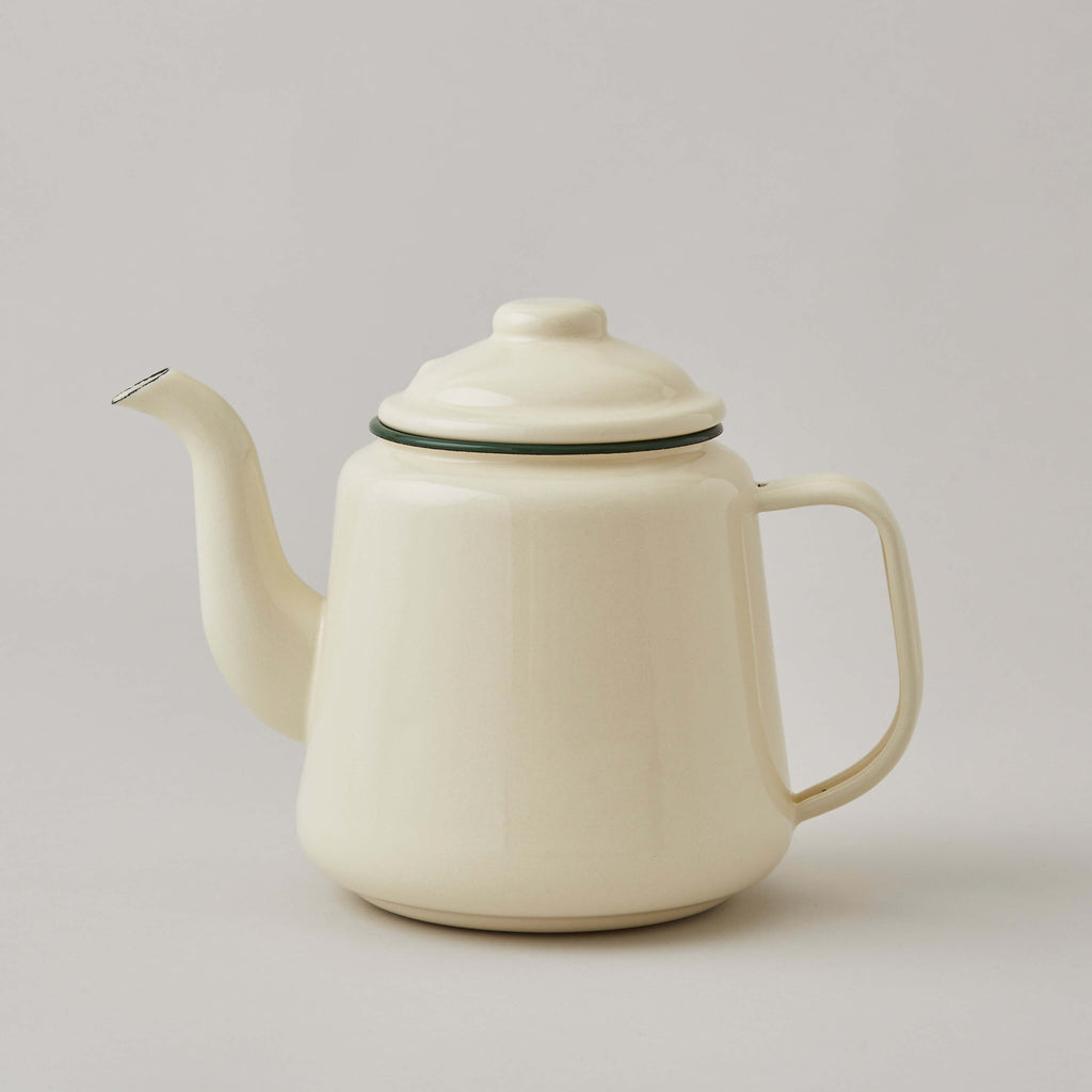 FOLKSGLOVE Cream and Green Enamel Tea Pot - Front View