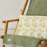 FOLKSGLOVE Olive Green Wool Blanket - with Gooseberry Cushion