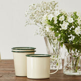 FOLKSGLOVE Cream and Green Enamel Tumbler - With flowers