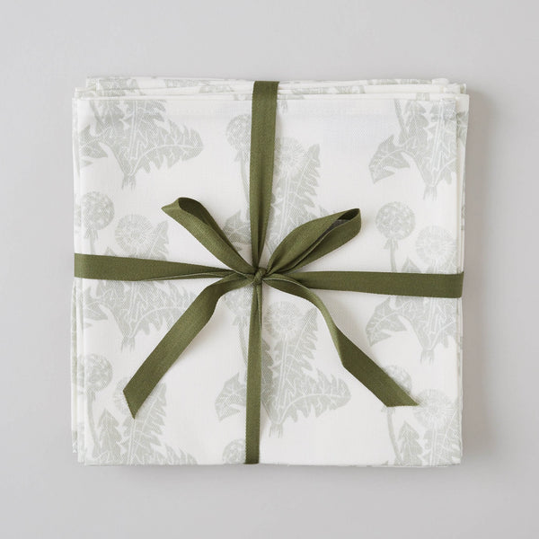FOLKSGLOVE Dandelion Napkin - Set of Four with ribbon