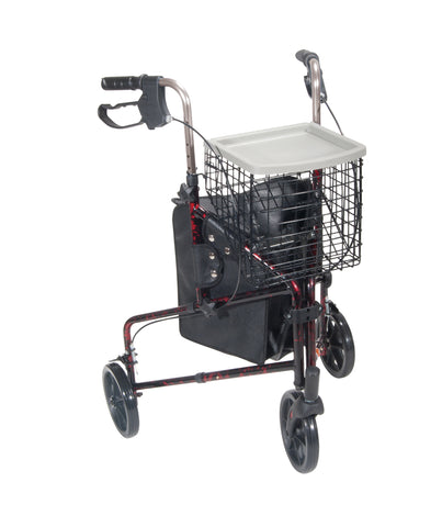 drive-medical-3-wheel-walker-rollator-with-basket-tray-and-pouch-10289rd