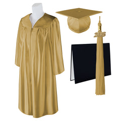 "Standard SHINY Graduation Cap, Gown and DIPLOMA with Matching 2018 Tassel - Size  4'9""-4'11"""