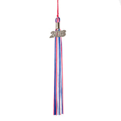 2018 Grad Tassel with Silver Charm: Tricolor Options