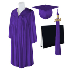 "Standard SHINY Graduation Cap, Gown and DIPLOMA with Matching 2018 Tassel - Size  4'3""-4'5"""