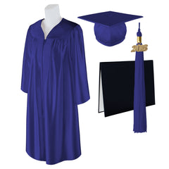 "Standard SHINY Graduation Cap, Gown and DIPLOMA with Matching 2018 Tassel - Size  4'6""-4'8"""