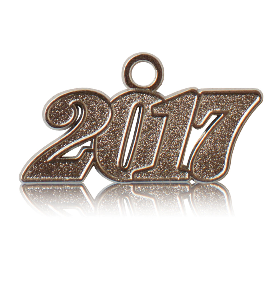 Year 2017 Silver Drop Date Signet for Graduation Tassel