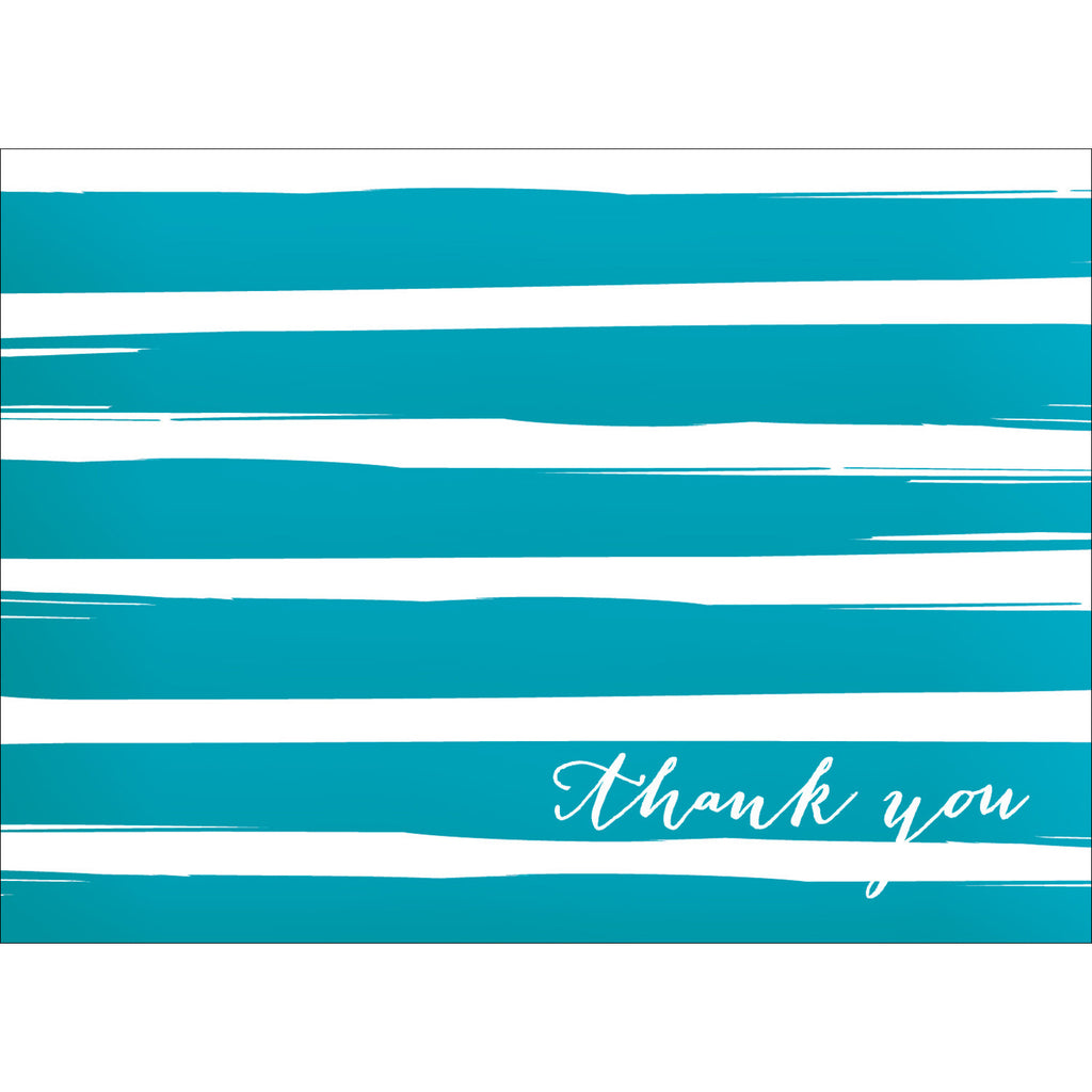 Brush Stripes Thank You Note- Blue-  10 Count