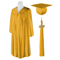 "Standard SHINY Graduation Cap and Gown with Matching 2018 Tassel - Size  5'3""-5'5"""