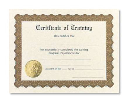 Certificate of Training  -  6 sheet pack