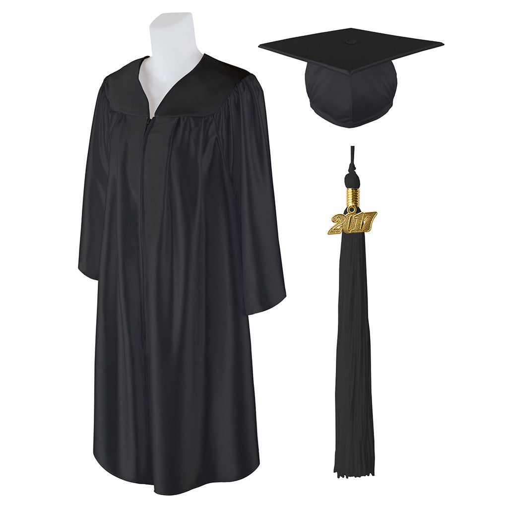 "Standard Shiny Graduation Cap and Gown with Matching 2017 Tassel - Size  5'9""-5'11"""