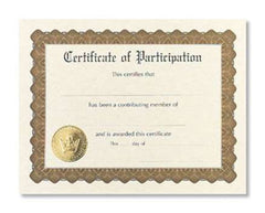 Certificate of Participation  -  6 sheet pack