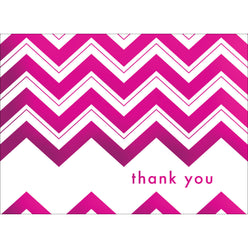 Chevron Thank You Note- Pink-  10 Count
