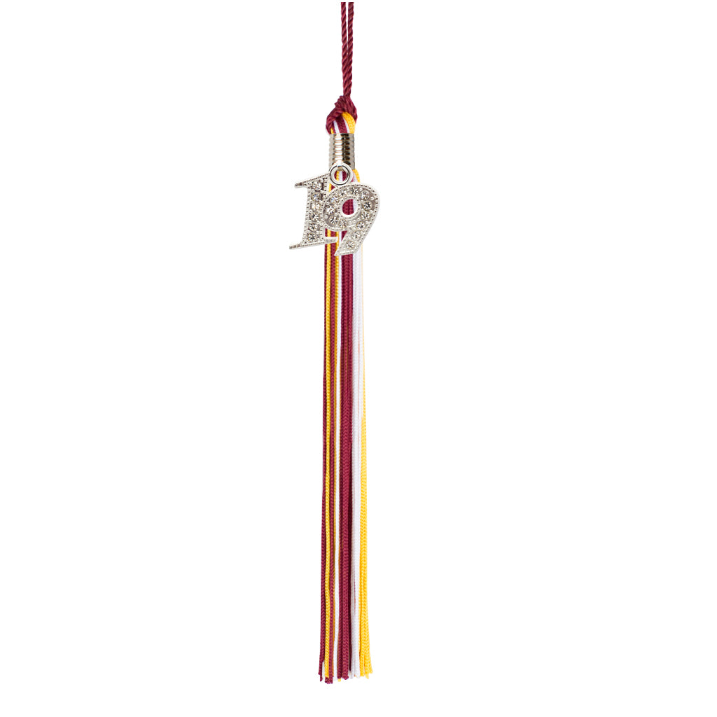 Premium 65 Strand Graduation Tassel with 2019 Bling Charm, Tri Color Tassel Color Options