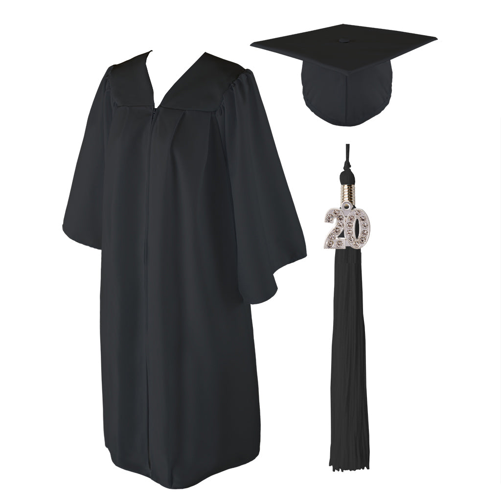 Class Act Graduation Black Adult Graduation Cap and Gown with Matching Tassel and 2020 Bling Charm