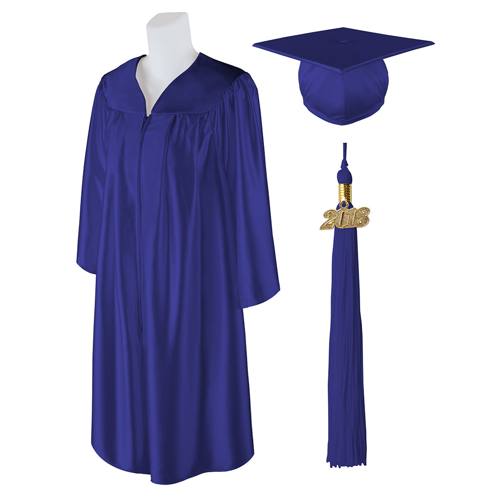 "Standard SHINY Graduation Cap and Gown with Matching 2018 Tassel - Size  5'0""-5'2"""