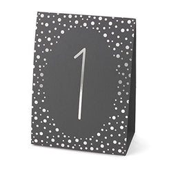 Polka Dot Table Number Tents - Silver Foil (1-40)