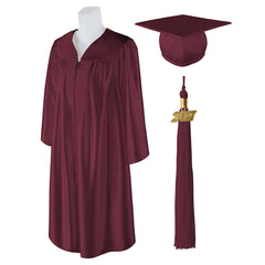 "Standard Shiny Graduation Cap and Gown with Matching 2017 Tassel - Size  6'0""-6'2"""