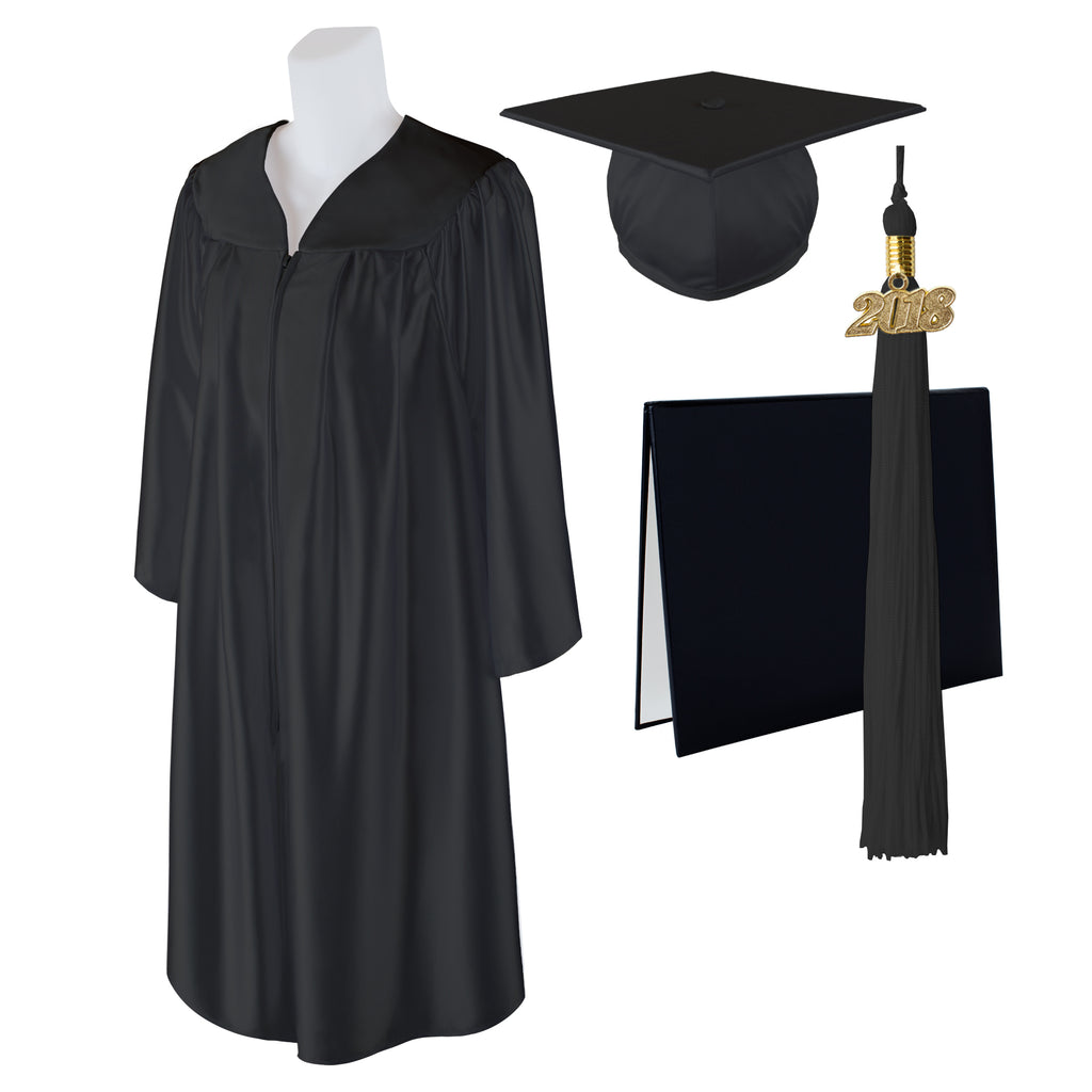 "Standard SHINY Graduation Cap, Gown and DIPLOMA with Matching 2018 Tassel - Size  6'0""-6'2"""