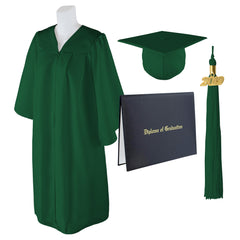 Adult Unisex Matte Graduation Cap, Gown And Diploma Cover With Matching 2019 Tassel, Medium