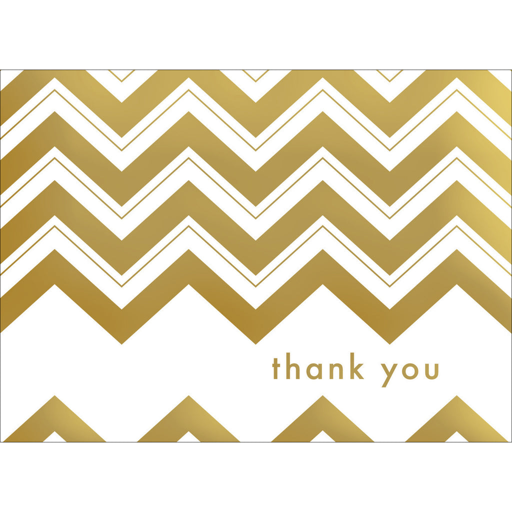 Chevron Thank You Note- Gold-  10 Count