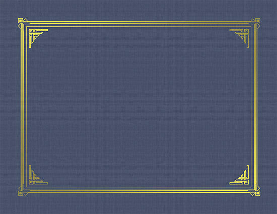 Navy Blue Linen Certificate Cover  -  6 Count