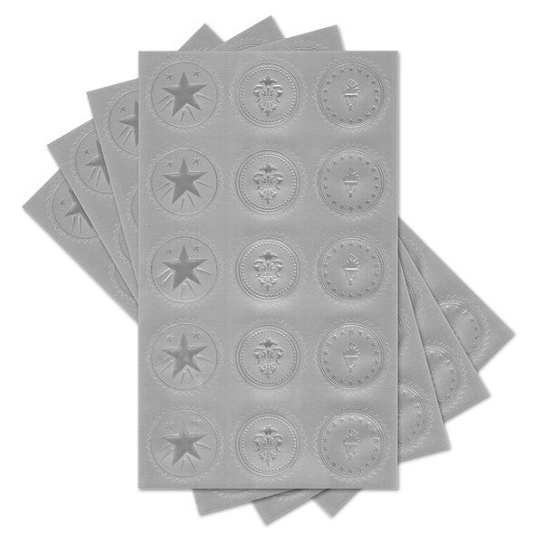 Silver Assorted Certificate Seals  --  60 Count